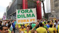 Protesters marching on Paulista Avenue against the corruption Stock Footage