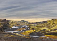 Surreal landscape of Landmannalaugar - Iceland Stock Photos