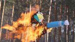 Carnival effigy burning Stock Footage