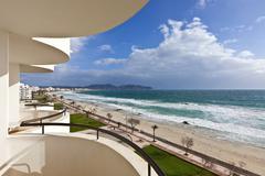 Beach of Mediterranean Sea at Cala Millor - Majorca island, Spain Stock Photos