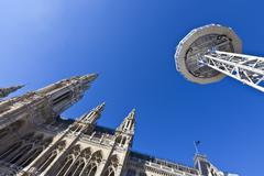 Low angle shot of the Vienna City Hall with the observation platform Skyliner Stock Photos