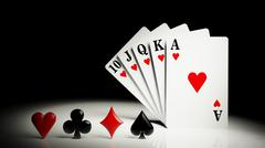 A royal straight flush playing cards poker hand - stock illustration