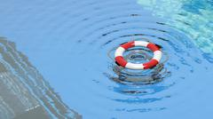 Lifebuoy floating in a clear pool water - stock illustration