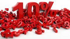Stock Illustration of 3D Rendering of a ten percent symbol