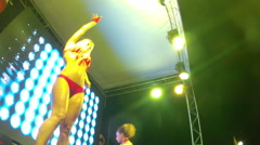 Two PJ dancers on the stage of summer nightclub Stock Footage