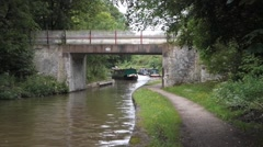 Narrowboat Under Bridge Stock Footage