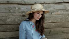 Girl in straw hat Stock Footage