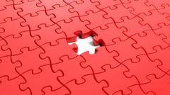 Jigsaw puzzle red blank template with one piece missing - stock illustration
