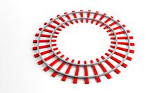 Round red railway track, isolated on white background Stock Illustration