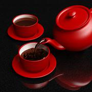 Red coffeepot pouring coffee into cup - stock illustration