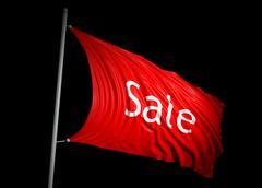 3D red sale flag - stock illustration