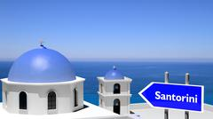 Beautiful island of Santorini in Greece - stock illustration