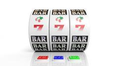 Slot fruit machine display with jackpot isolated on white - stock illustration
