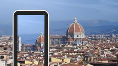 Tablet, smartphone taking picture of Florence Italy Stock Illustration