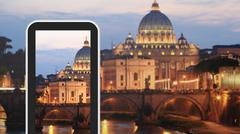 Tablet, smartphone taking picture of Rome Italy Stock Illustration
