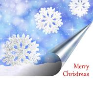 Christmas card. Snowflakes falling from the sky on a page curl - stock illustration