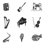 Musical Instruments And Equipment Set - stock illustration