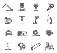 Metal-working Icon Set - stock illustration