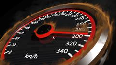 Fire speedometer with moving arrow Stock Illustration