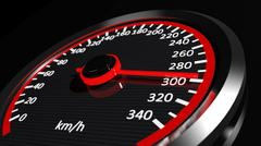 Speedometer with moving arrow - stock illustration