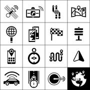 Navigation Icons Black - stock illustration