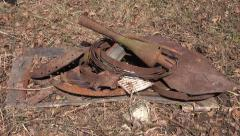 Put rusty metal scrap-iron rubbish for recycling in stack Stock Footage