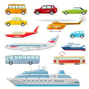 Transport Icons Flat - stock illustration