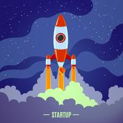 Startup Rocket Launch - stock illustration
