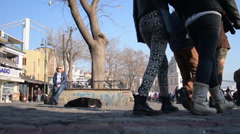 Pedestrians are walking on a precinct, closed traffic square, Ortakoy - stock footage