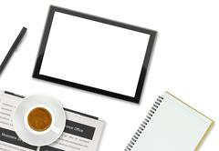 Tablet computer, coffee cup and other office supplies on white background - stock illustration