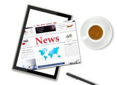 Digital news on tablet computer Stock Illustration