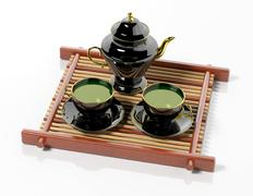 Black teapot and teacups on wooden tray - stock illustration