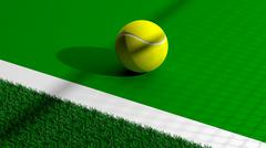 Tennis ball on tennis green court - stock illustration