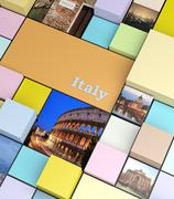 Square background with pastel colors and holidays photos, promotional concept - stock illustration