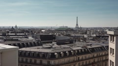 Roof top view Paris Eiffel Tower - 1080p Stock Footage