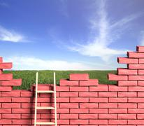 Stock Illustration of Freedom concept. Ladder leading to a better place