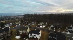 3240 Aerial Neighborhood Under Fog with Trees, 4K Stock Footage