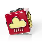 Weather forecast 3d cube, with cloud and rain - stock illustration