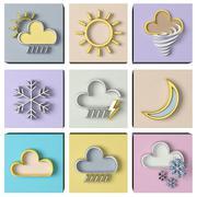 Weather forecast 3d set - stock illustration