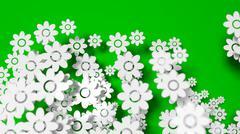 Stock Illustration of Abundant white flowers on green background