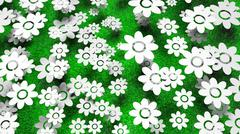 Abundant white flowers on green grass background Stock Illustration