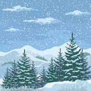 Stock Illustration of Christmas Winter Mountain Landscape