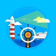 Stock Illustration of Cruise ship and clear blue water. Water tourism.