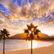 Alcudia Majorca at sunset on the beach Mallorca Stock Photos