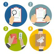 Stock Illustration of Set of hands clients purchasing