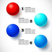 Infographics with group of flying balls - stock illustration