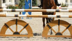 Horse jump a hurdle in competition Stock Footage