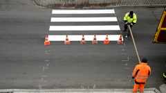Making of pedestrian crossing, natural lighting,time lapse, locked down Stock Footage