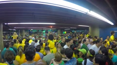 People protest on in Subway against corruption and brazilian government - stock footage