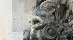 Fish sculpture fountain, Zwinger Dresden Stock Footage